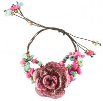Bracelet fleur fuschia