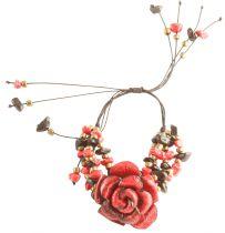 Bracelet fleur rouge