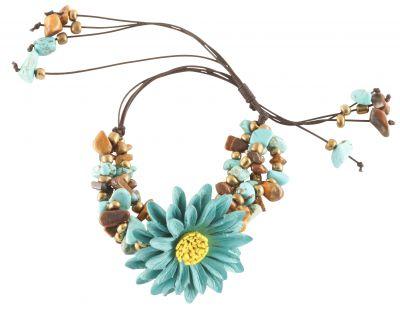 Bracelet paquerette turquoise
