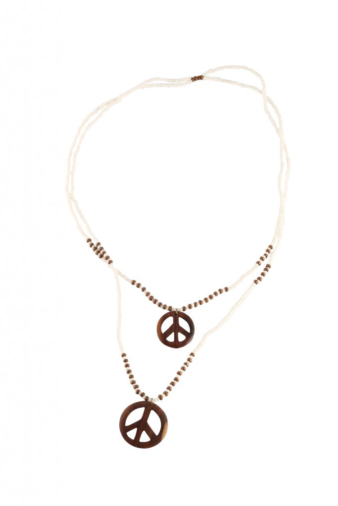Collier peace and love blanc