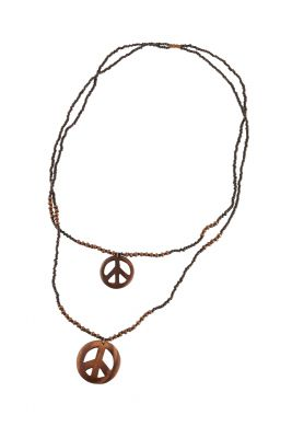 Collier peace and love noir