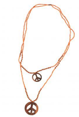Collier peace and love orange