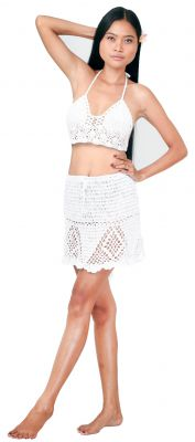 Ensemble fait main crochet blanc