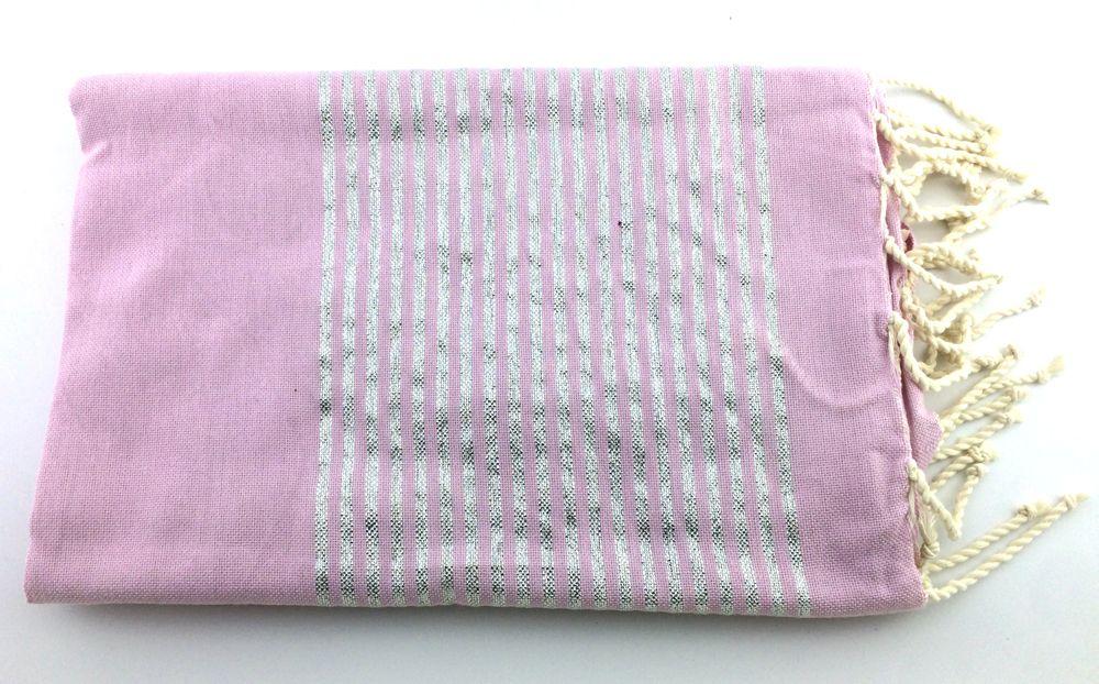 Fouta lurex rose clair et argenté 100% coton qui sèche ultra rapidement