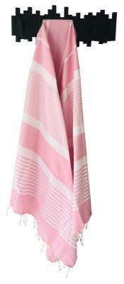 Fouta Mahdia rose bonbon et blanc