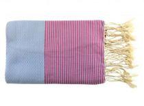 Fouta nid d\'abeille bicolore bleu ciel et rose 100% coton de Tunisie