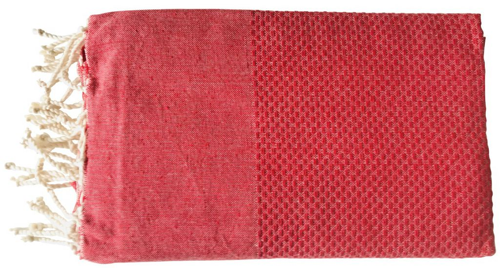 Fouta nid d\'abeille rouge
