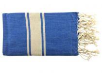 Fouta plate bicolore beige et bleu 100% coton de la Tunisie