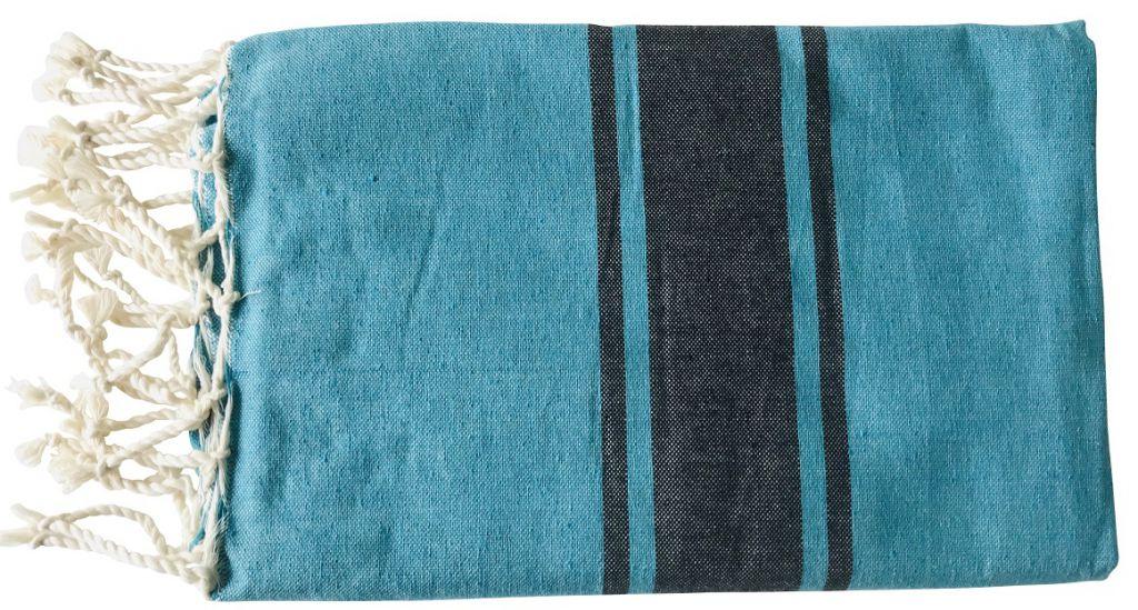Fouta plate bicolore bleu mers du sud et noir
