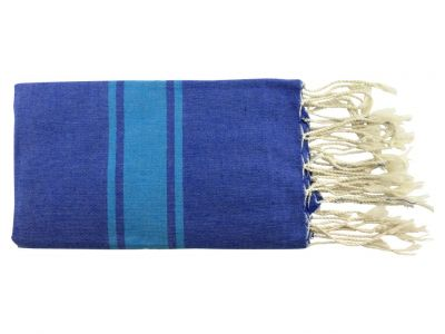 Fouta plate bicolore bleu 100% coton de Tunisie