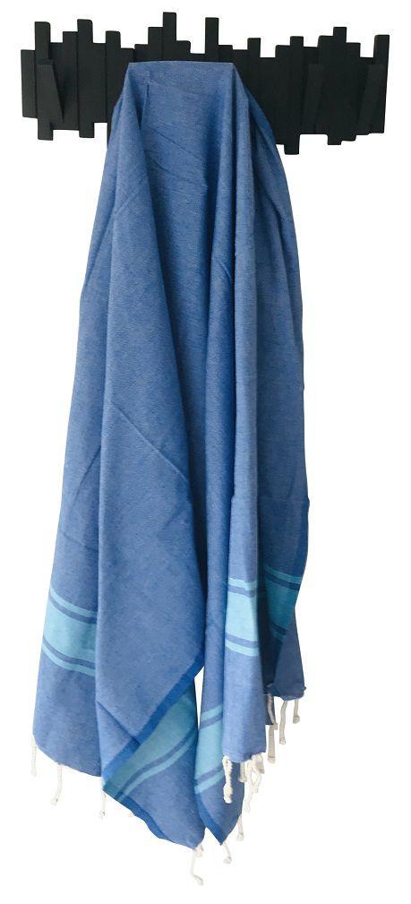 Fouta plate bicolore bleu
