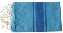 Fouta plate bicolore duo de bleus