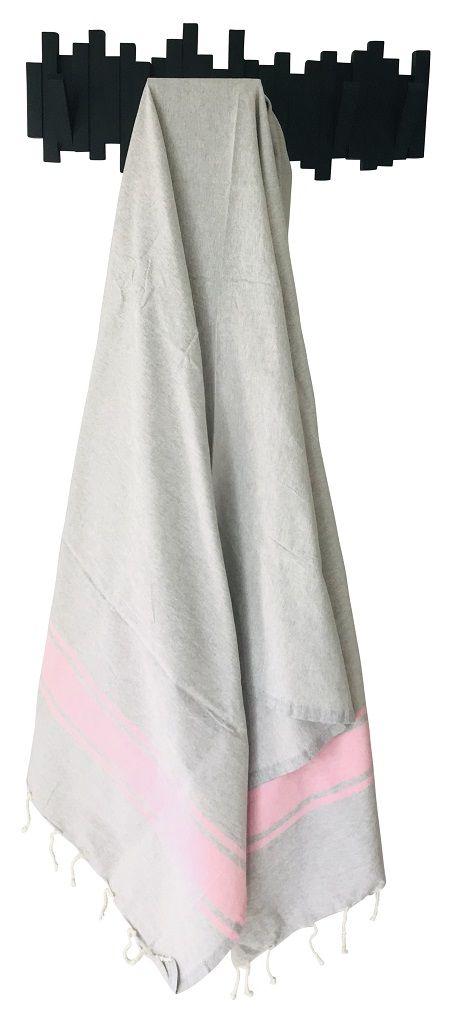 Fouta plate bicolore gris et rose