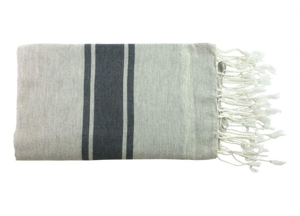 Fouta plate bicolore gris 100% coton de la Tunisie