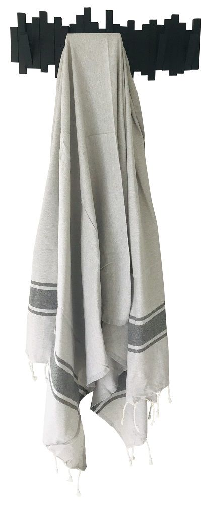 Fouta plate bicolore gris