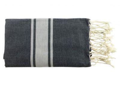 Fouta plate bicolore noir et gris 100% coton de Tunisie.