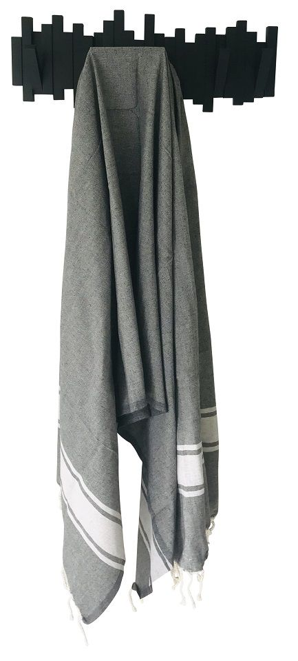 Fouta plate bicolore noir et gris