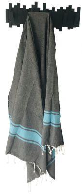 Fouta plate bicolore noir et turquoise