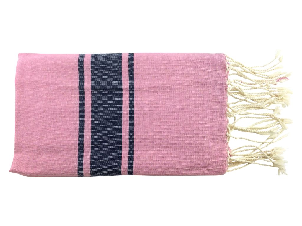 Fouta plate bicolore rose et bleu 100% coton de Tunisie