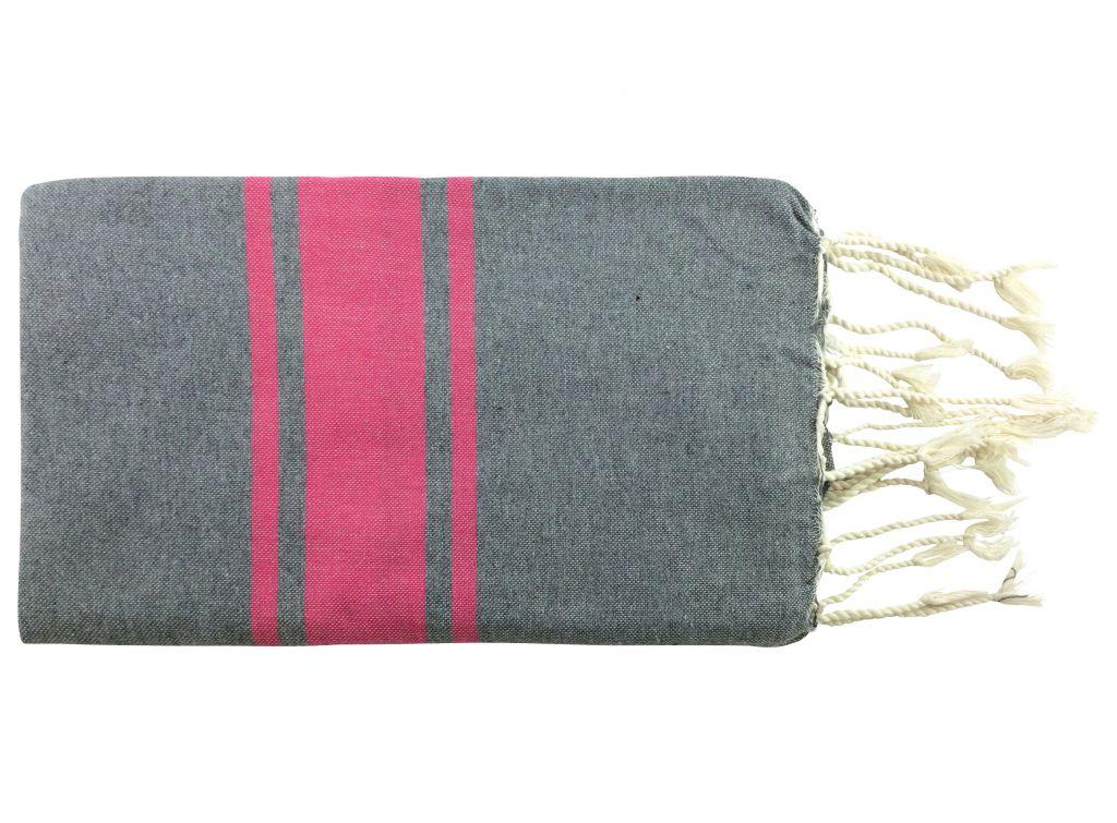 Fouta plate bicolore rose et gris 100% coton de Tunisie.