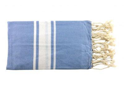 Fouta plate bleu ciel et blanc 100% coton de Tunisie