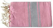 Fouta plate gris et rose