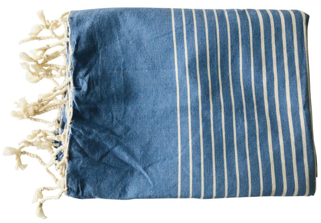 Fouta plate rayée bleu et blanc