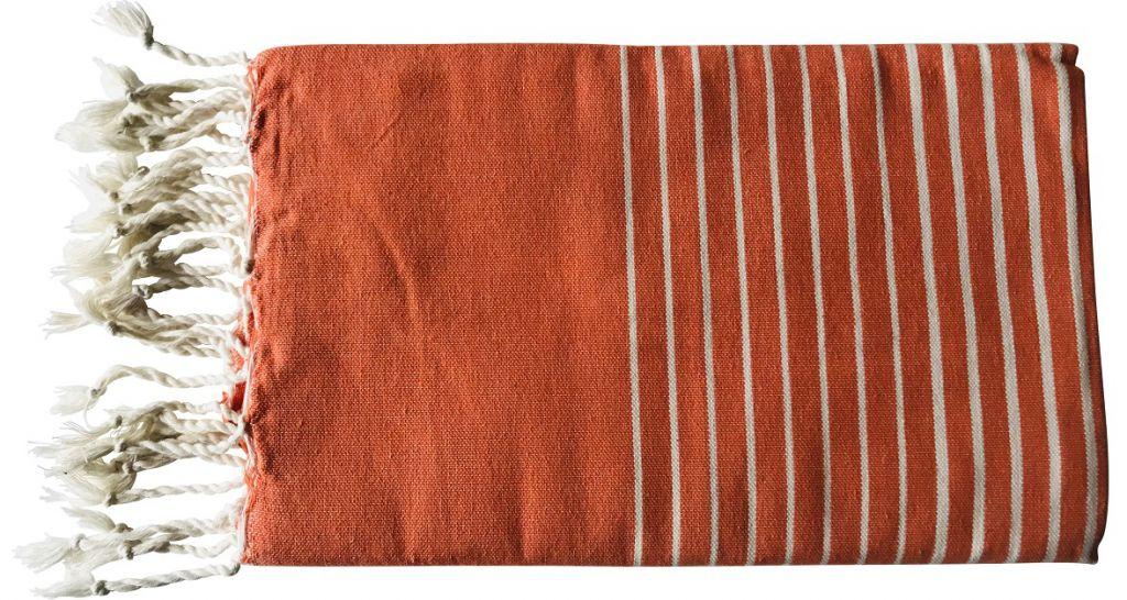 Fouta plate rayée orange et blanc