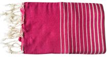 Fouta plate rayée rose et blanc