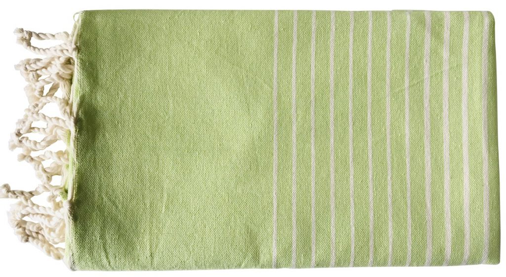 Fouta plate rayée vert et blanc