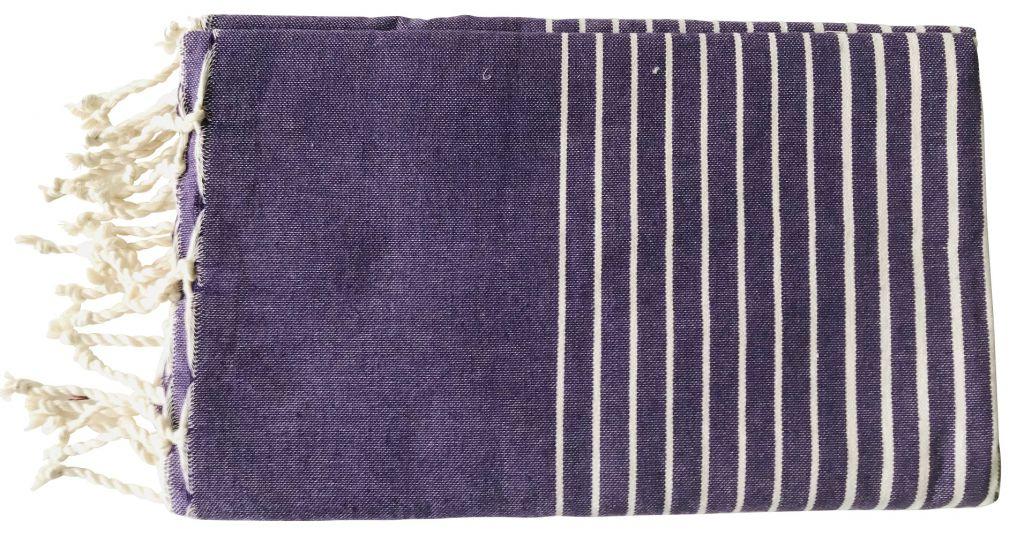 Fouta plate rayée violet et blanc