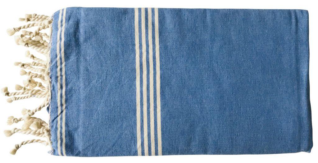 Fouta tissage à plat bleu