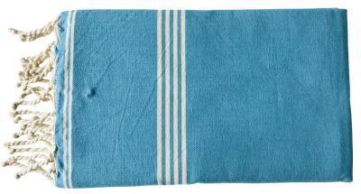 Fouta tissage à plat bleu turquoise