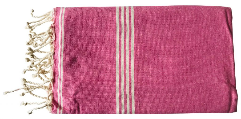 Fouta tissage à plat rose