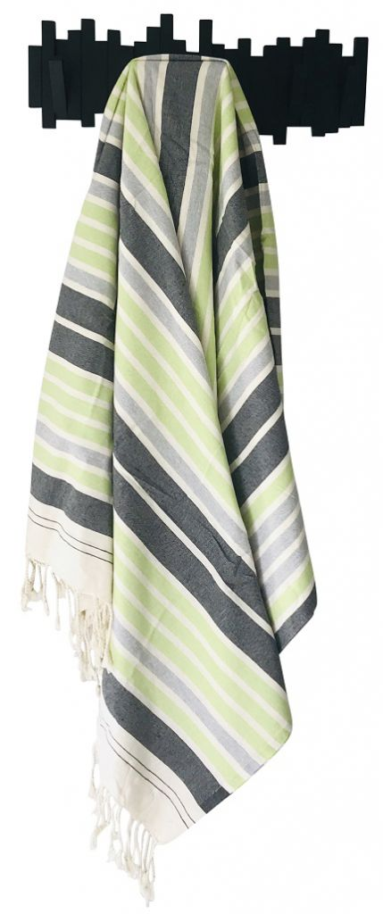 Fouta XXL Tataouine blanc, vert et noir