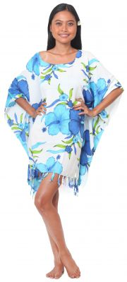 Grande robe paréo fleuris bleu