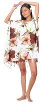 Grande robe paréo fleuris marron