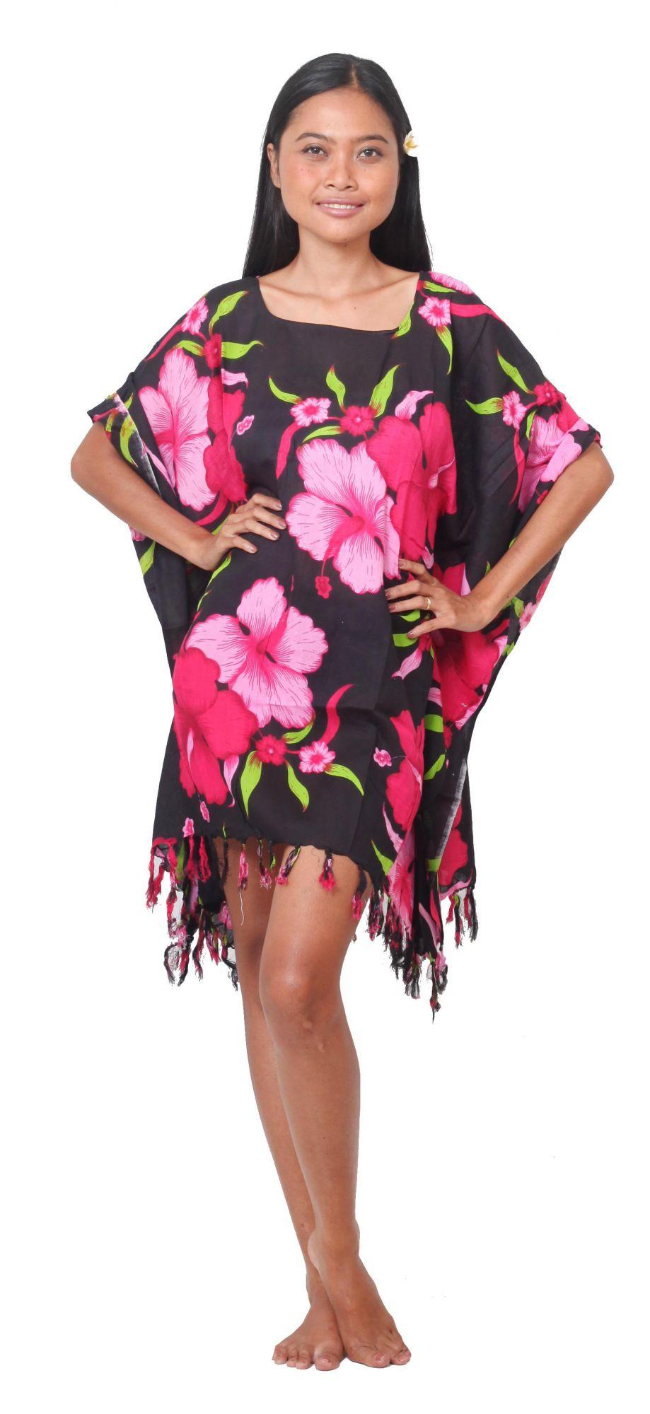 Grande robe paréo fleuris rose