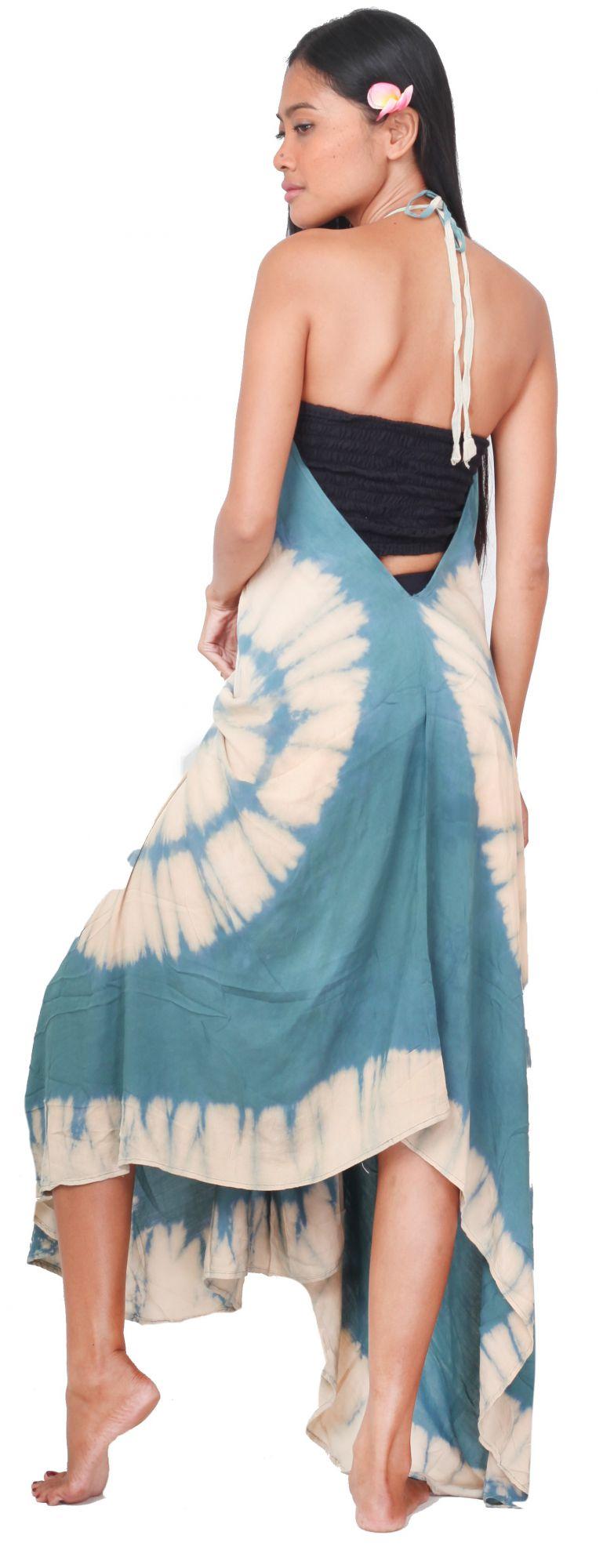 Longue robe d\'été tie dye bleu