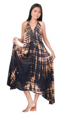 Longue robe d\'été tie dye noir
