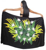 Paréo bouquet de tiare apetahi noir