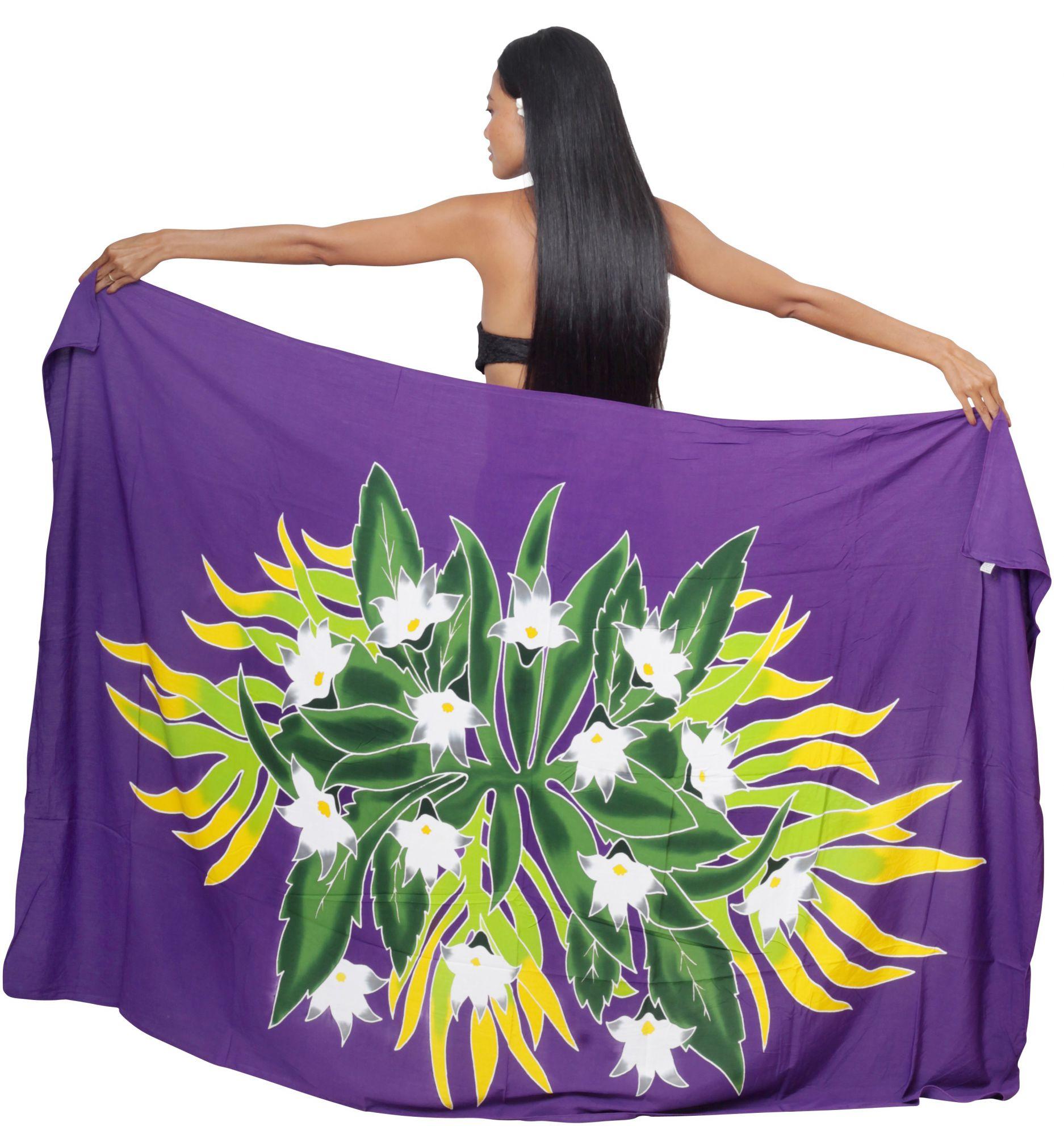 Paréo bouquet de tiare apetahi violet