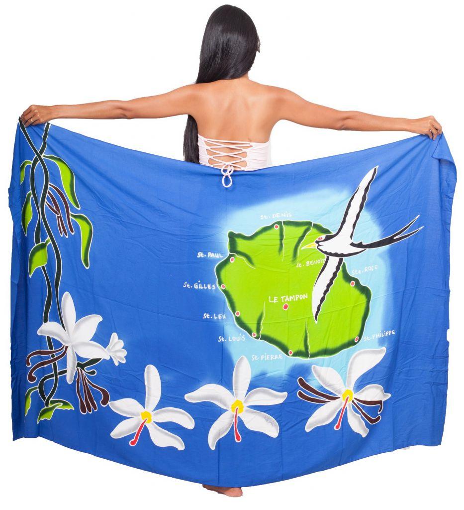 Paréo carte La Réunion bleu