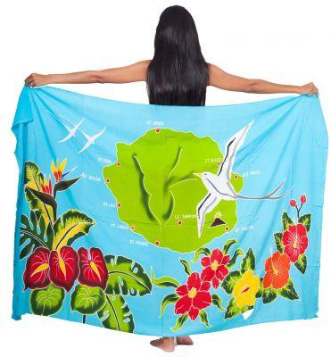 Paréo carte La Réunion bleu turquoise
