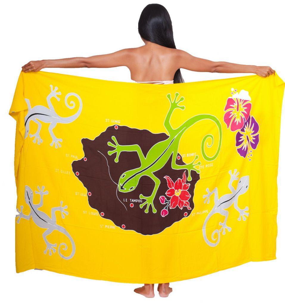Paréo carte La Réunion jaune