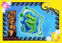 Paréo carte Tiki Bora Bora jaune