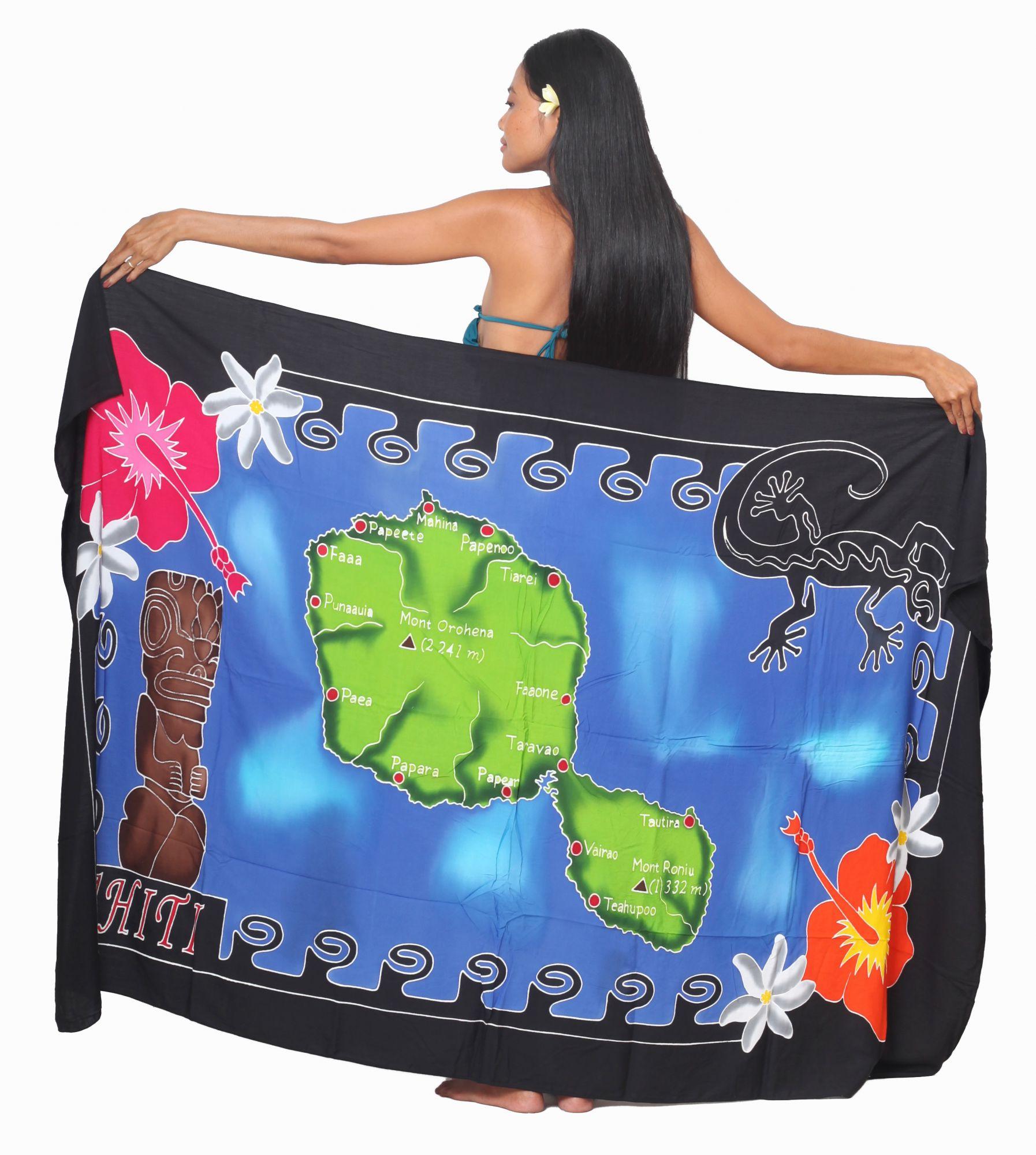 Paréo carte Tiki Tahiti noir