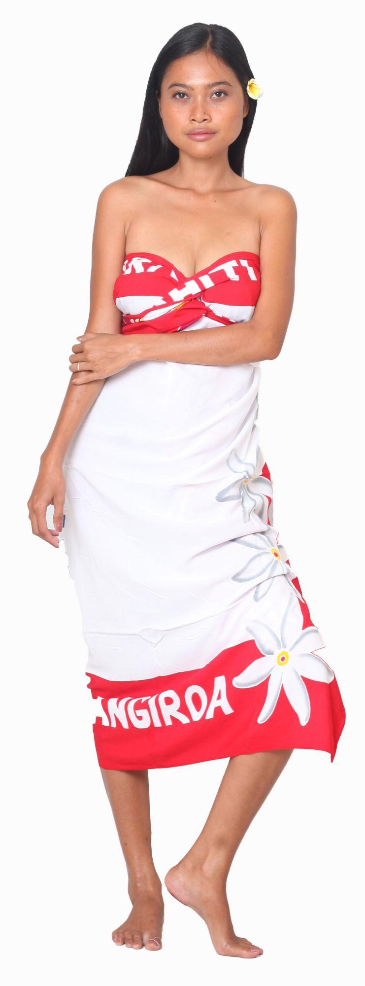 Paréo drapeau Polynésien fleurie