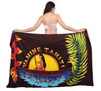 Paréo fleuris Vahine Tahiti marron