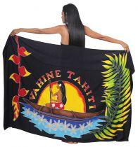 Paréo fleuris Vahine Tahiti noir